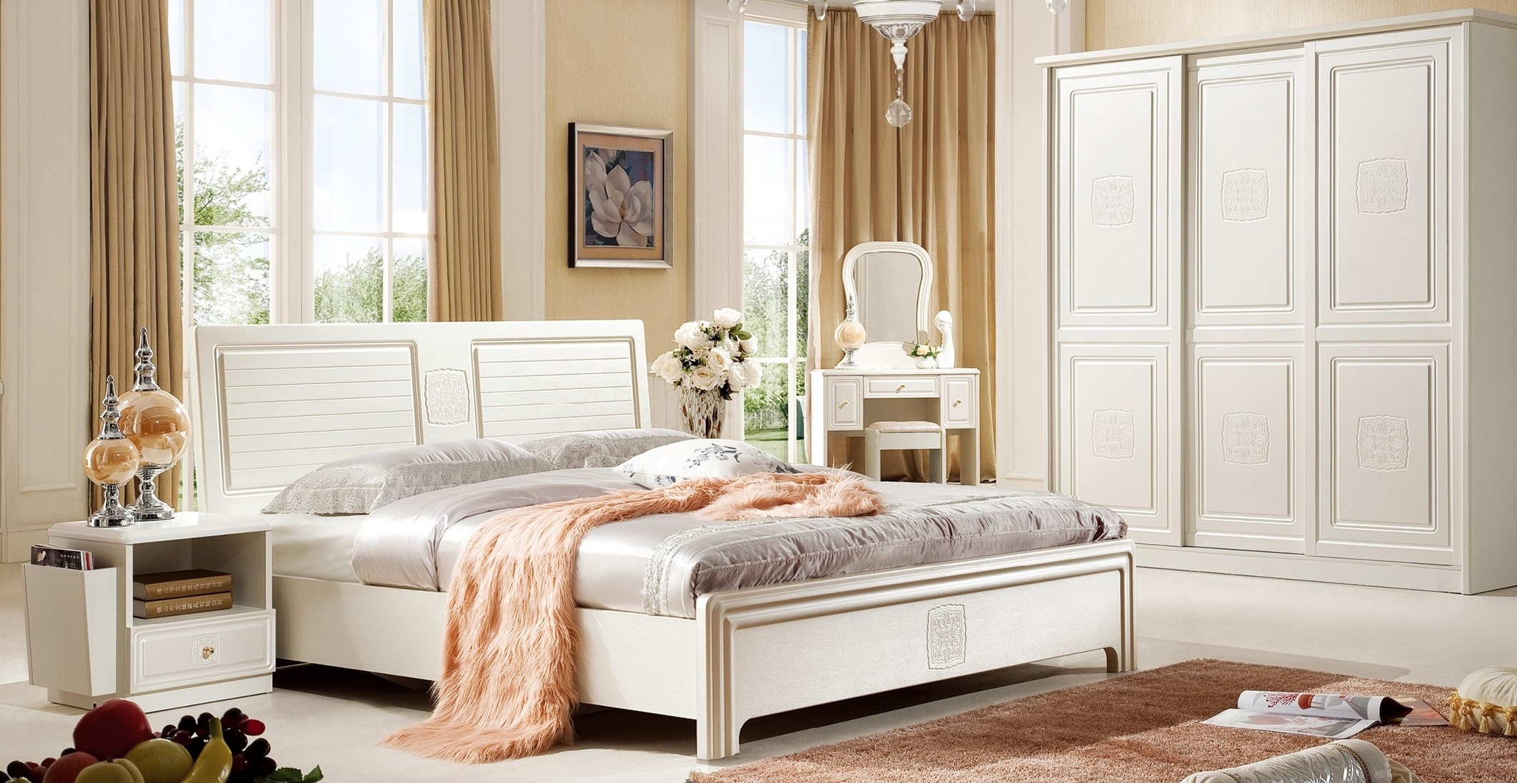 ELEGANCE-2 Home Set - 30.250.000 VND Bed- 1900*2100*1060 mm - 8.500.000 VND Wardrobe cabinet - 2000*600*2200 mm - 16.000.000 VND Dressing table - 1000*396*1540 mm - 3.600.000 VND Makeup chair - 430*330*390 mm -  650.000 VND Tab - 575*405*500 mm Price: 1.500.000 VND