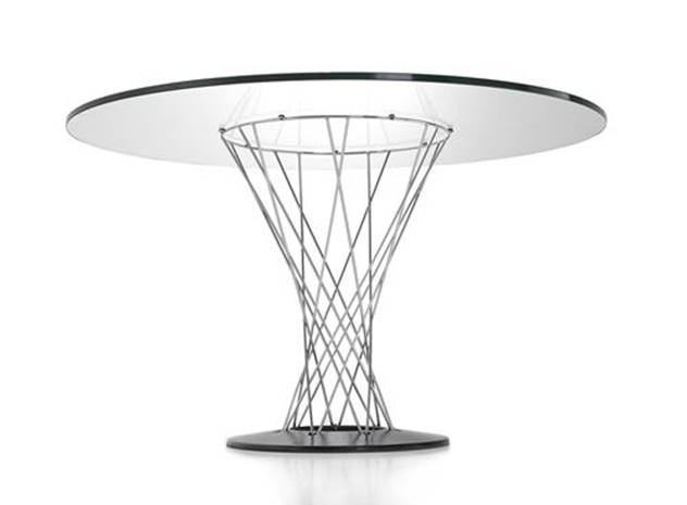 CYCLONE-08 TABLE Designed by  Isamu Noguchi 1957 D800x700mm Glass, chromed steel Price: 2.700.000 VND