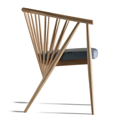 """GENNY CHAIR Design: Centro Ricerche MAAM  610 x 590 x 770 mm ASH solid wood, PVC seat Price: 2.500.000 VND/pc Ghế Genny duyên dáng từ các thanh gỗ được bố trí xoay dần, cảm giác như xoay quanh trục. Đây còn được gọi là cấu trúc xuyên tâm - """"Radial"""" structure - giúp chiếc ghế thêm phần mạnh mẽ, thu hút. Chất liệu gỗ ASH, nệm ngồi PVC giả da."""