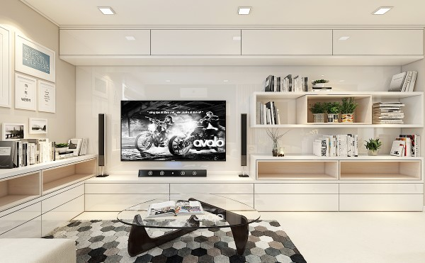 Hệ thống tủ tivi được KTS kết hợp với tủ đồ và giá sách, vừa tối ưu công năng tận dụng hết diện tích, vừa trang trí làm đẹp thêm cho không gian.