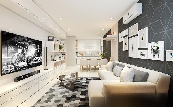 Không gian phòng khách dùng màu xám – trắng là màu chủ đạo, mang đến cảm giác ấm áp, tao nhã.