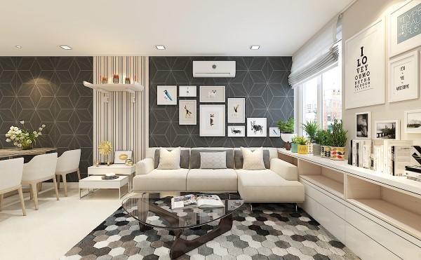 Sofa góc L rộng rãi còn là nơi cả gia đình quây quần bên nhau mỗi tối.