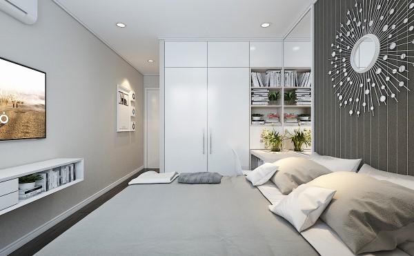 Phòng ngủ với tông màu trắng kết hợp xám nhạt, tạo cảm giác rộng rãi hơn.