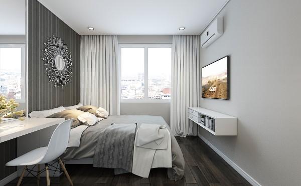 Cửa sổ rộng giúp gia chủ luôn có không gian thoáng mát ngắm thành phố.