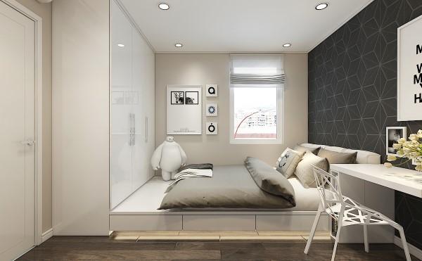KTS bố trí thêm tủ kéo dưới gường để tăng diện tích để đồ.