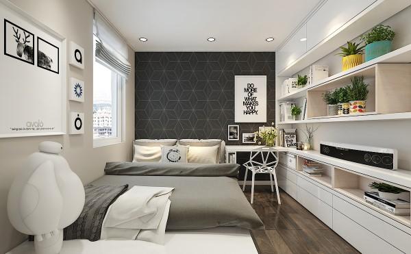 Phòng ngủ con trai lớn được thiết kế mạnh mẽ và trẻ trung hơn, vẫn là vách tường xám và sàn gỗ tối màu nhưng được nhấn nhá thêm hệ giá sách và tủ kịch trần.